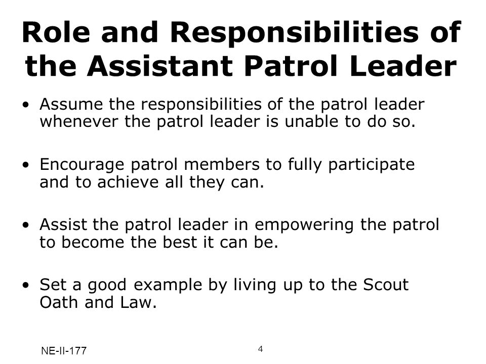 Role and Responsibilities of the Assistant Patrol Leader