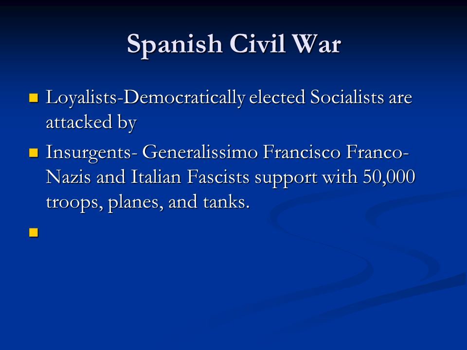 Spanish Civil War Loyalists-Democratically elected Socialists are attacked by.