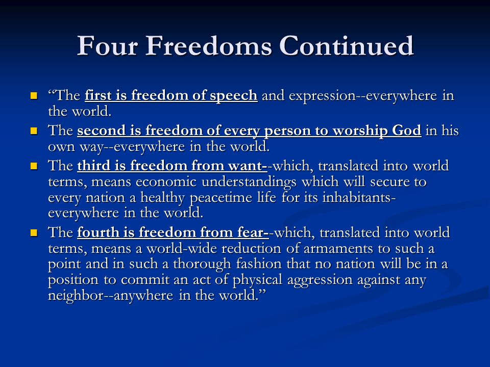 Four Freedoms Continued