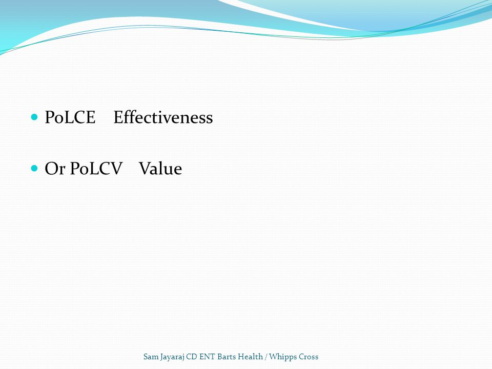 PoLCE Effectiveness Or PoLCV Value