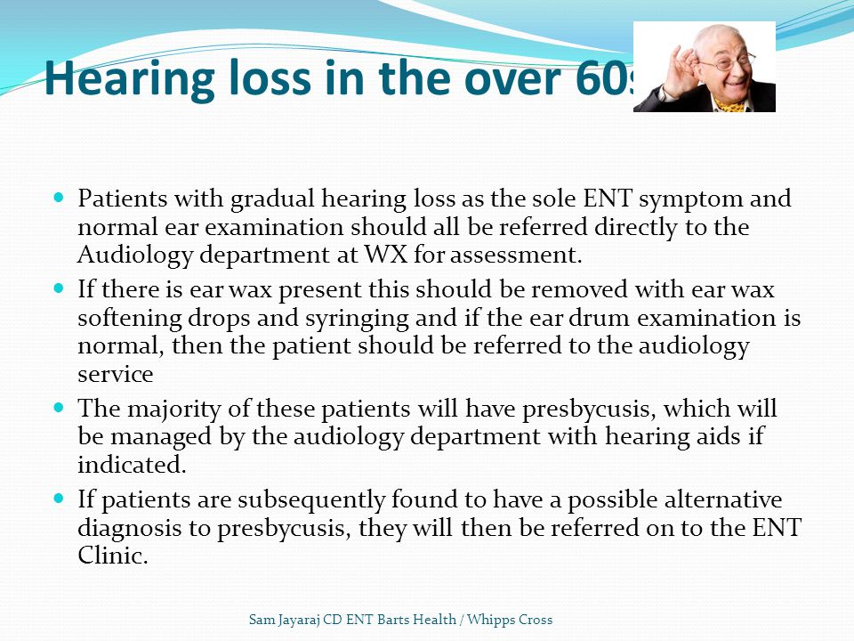 Hearing loss in the over 60s