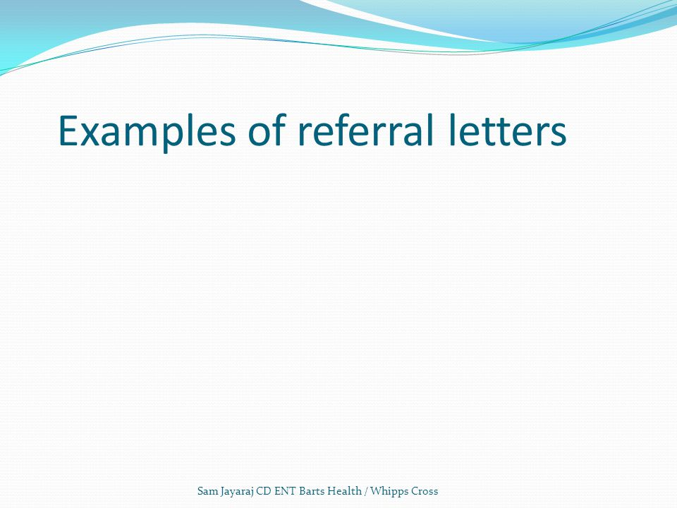 Examples of referral letters