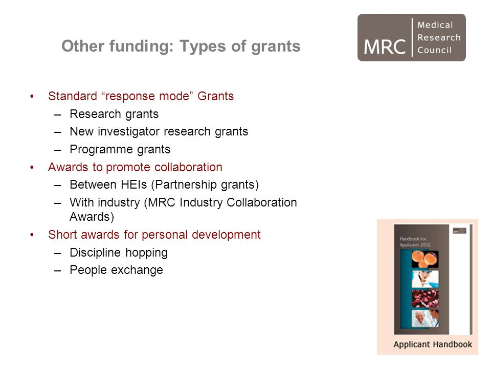 Other funding: Types of grants
