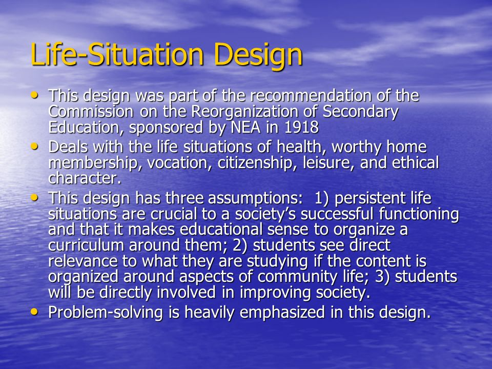 Life-Situation Design