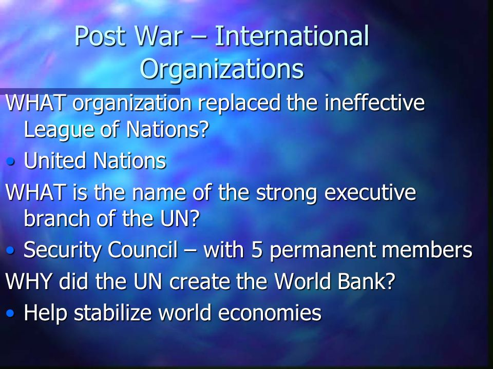 Post War – International Organizations