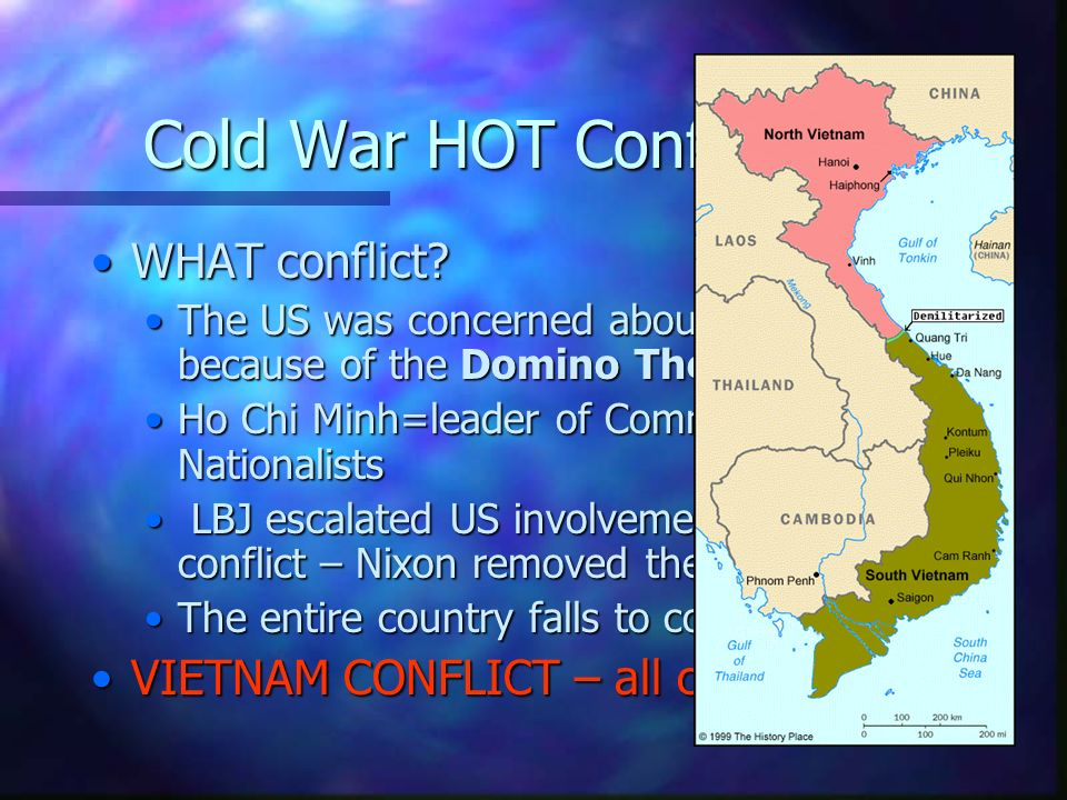Cold War HOT Conflicts WHAT conflict VIETNAM CONFLICT – all communist