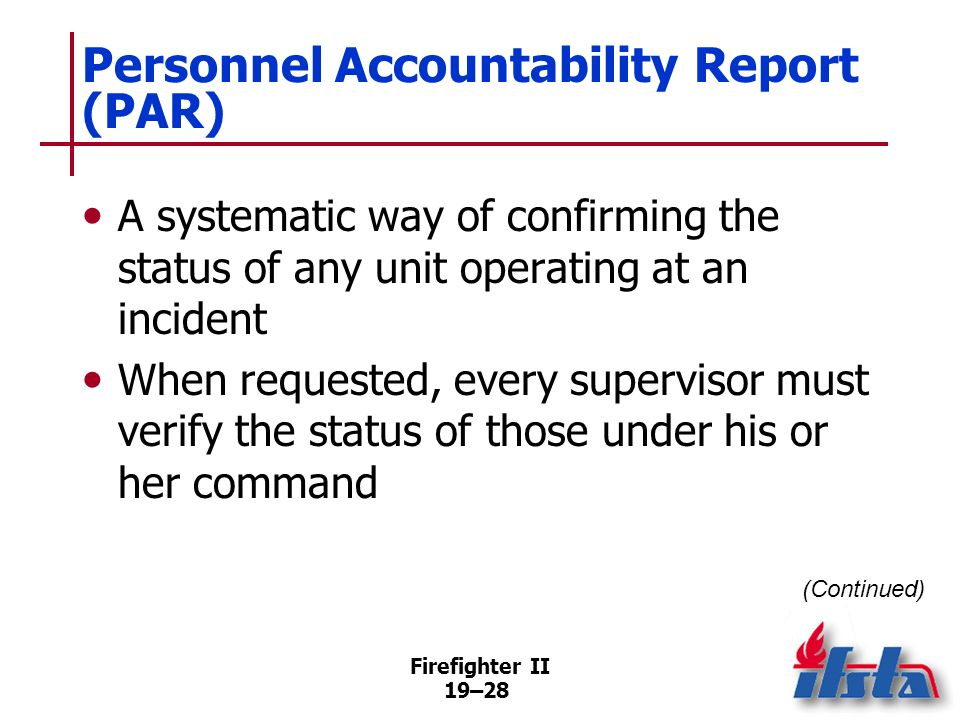 Personnel Accountability Report (PAR)