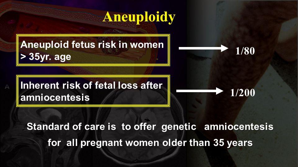 Aneuploidy 1/200 1/80 Aneuploid fetus risk in women > 35yr. age