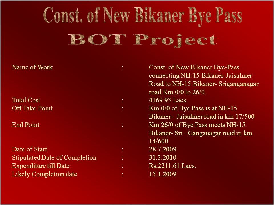 Const. of New Bikaner Bye Pass