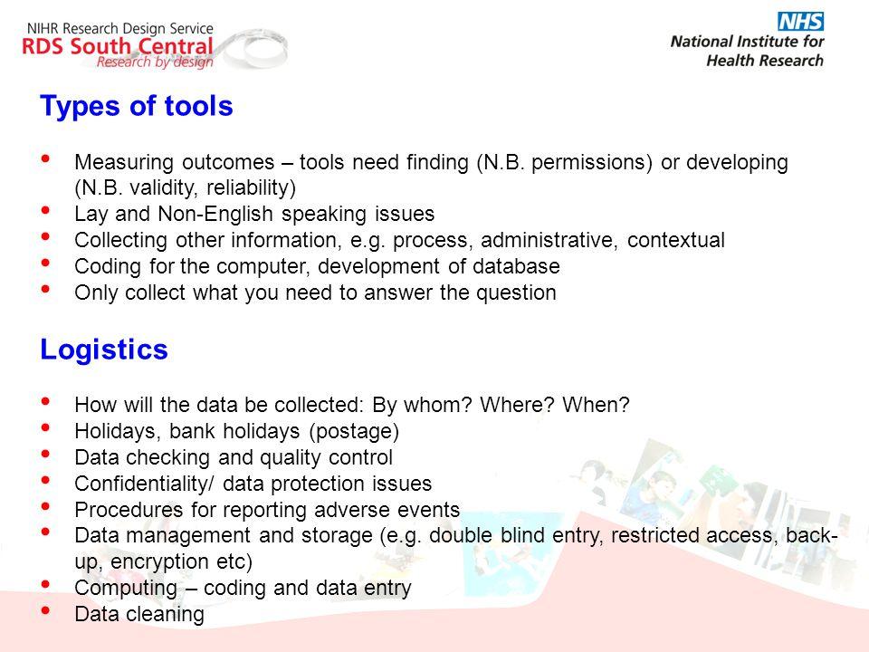 Types of tools Logistics