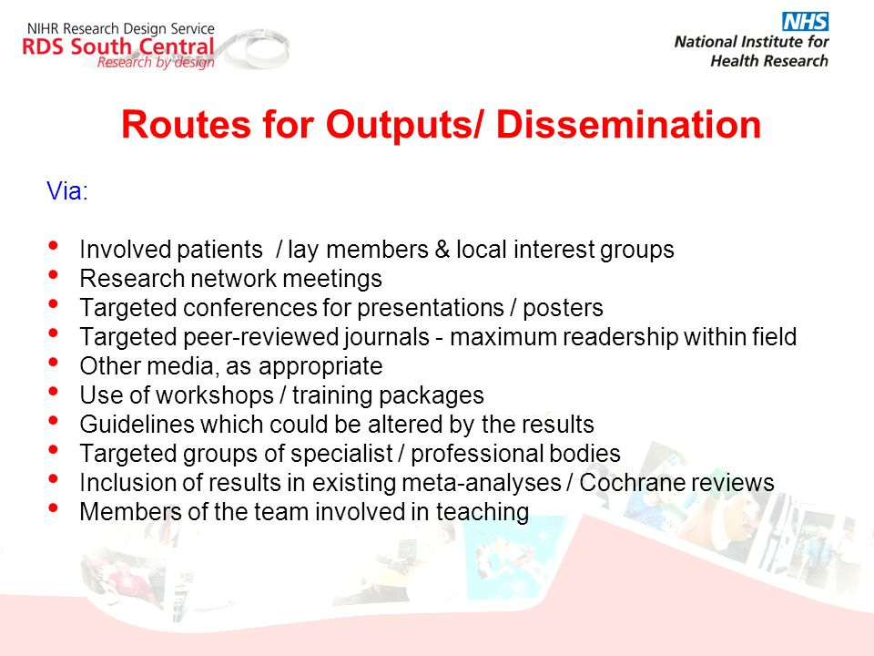Routes for Outputs/ Dissemination