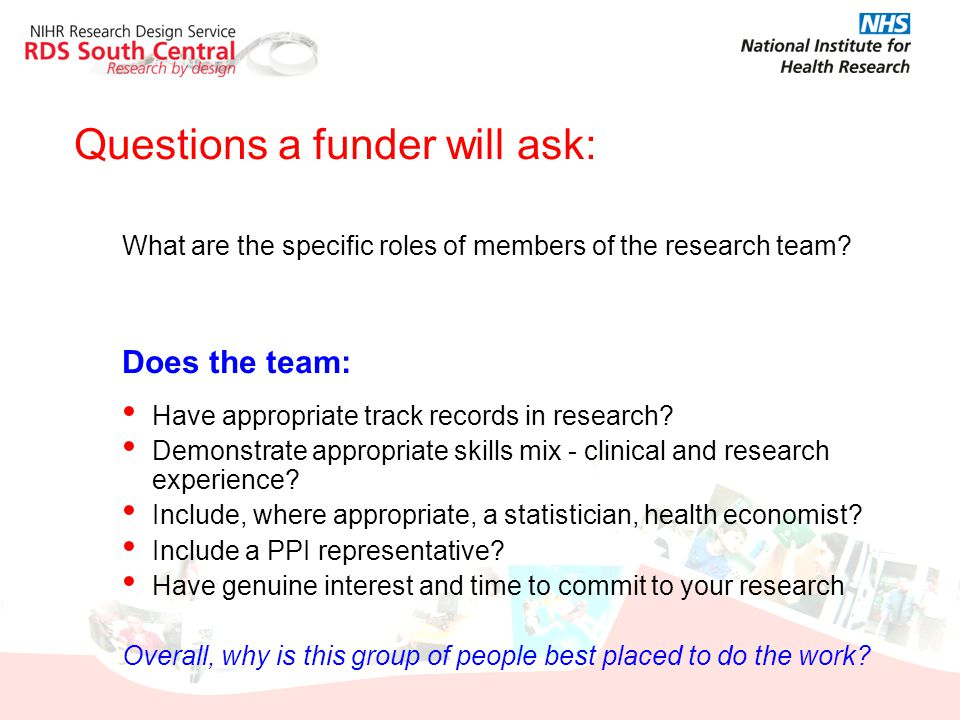 Questions a funder will ask: