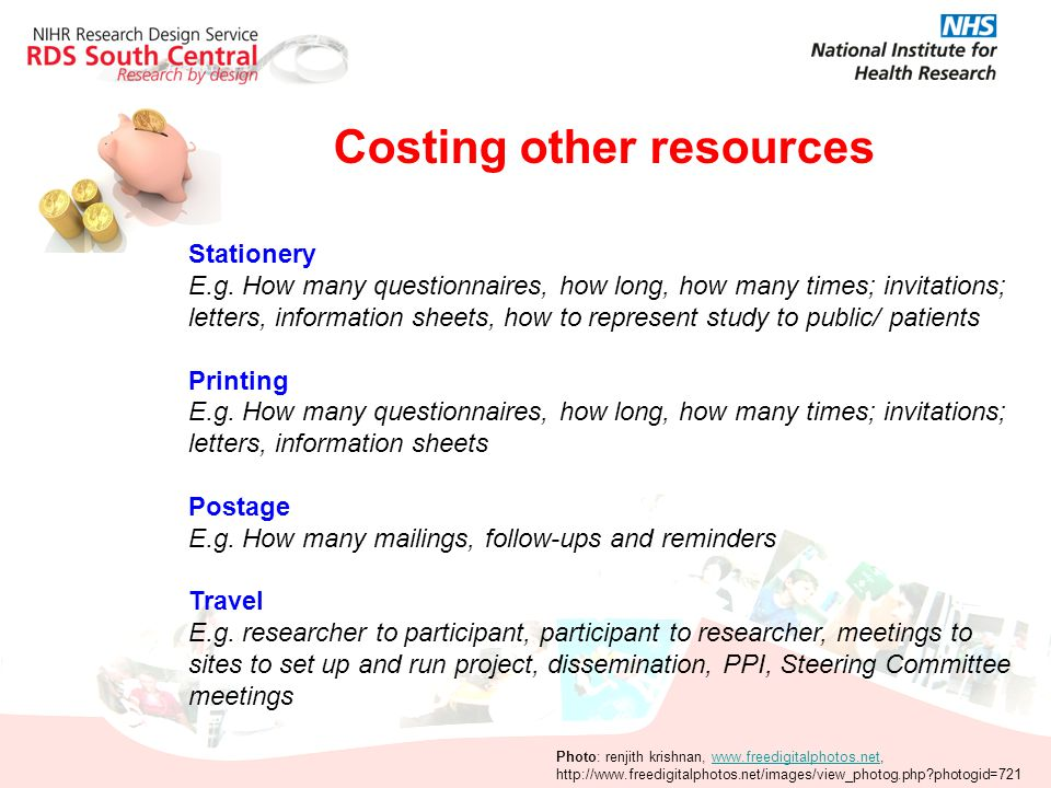 Costing other resources