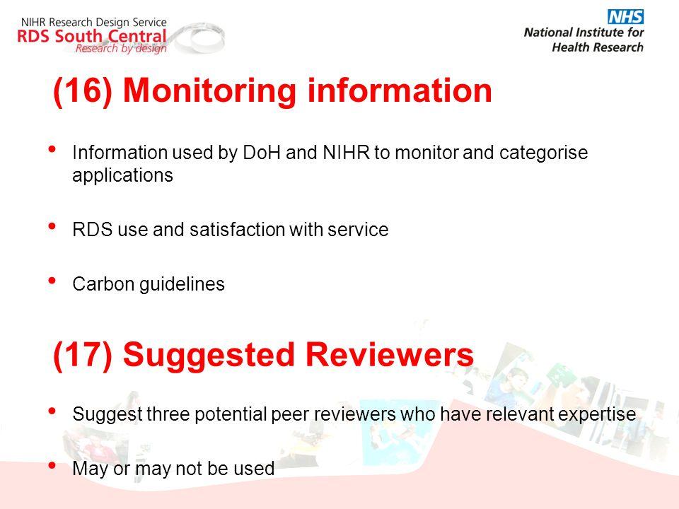 (16) Monitoring information