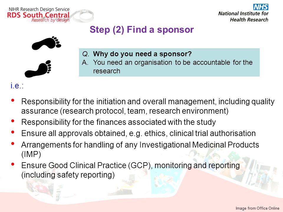 Step (2) Find a sponsor i.e.: