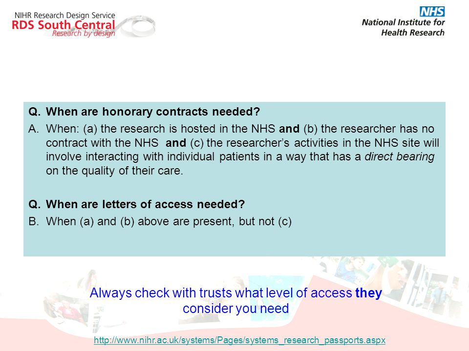 Always check with trusts what level of access they consider you need