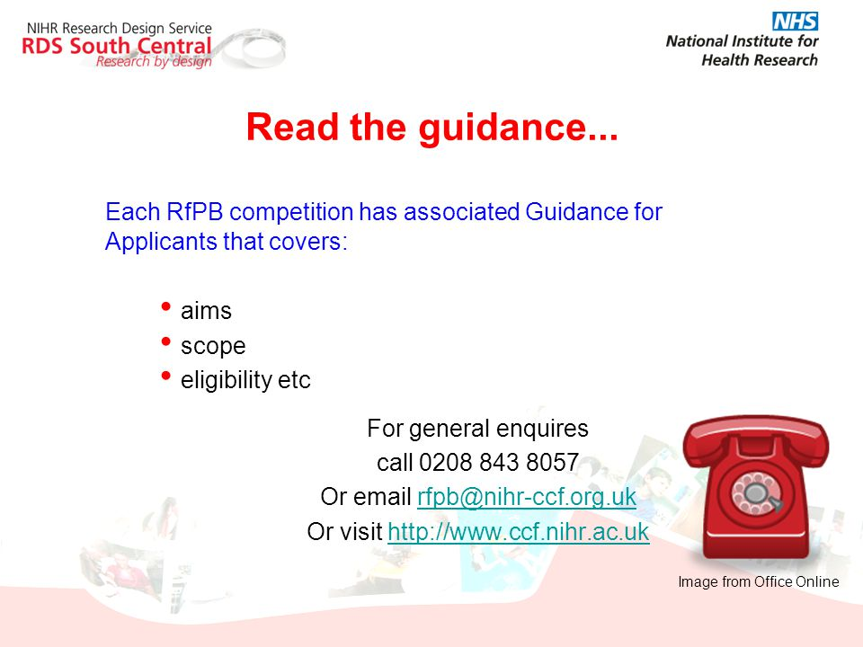 Read the guidance... Each RfPB competition has associated Guidance for Applicants that covers: aims.