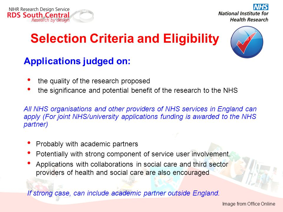 Selection Criteria and Eligibility