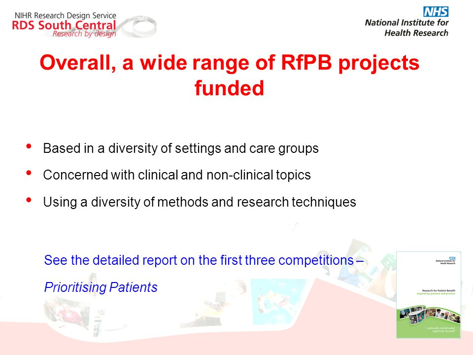 Overall, a wide range of RfPB projects funded