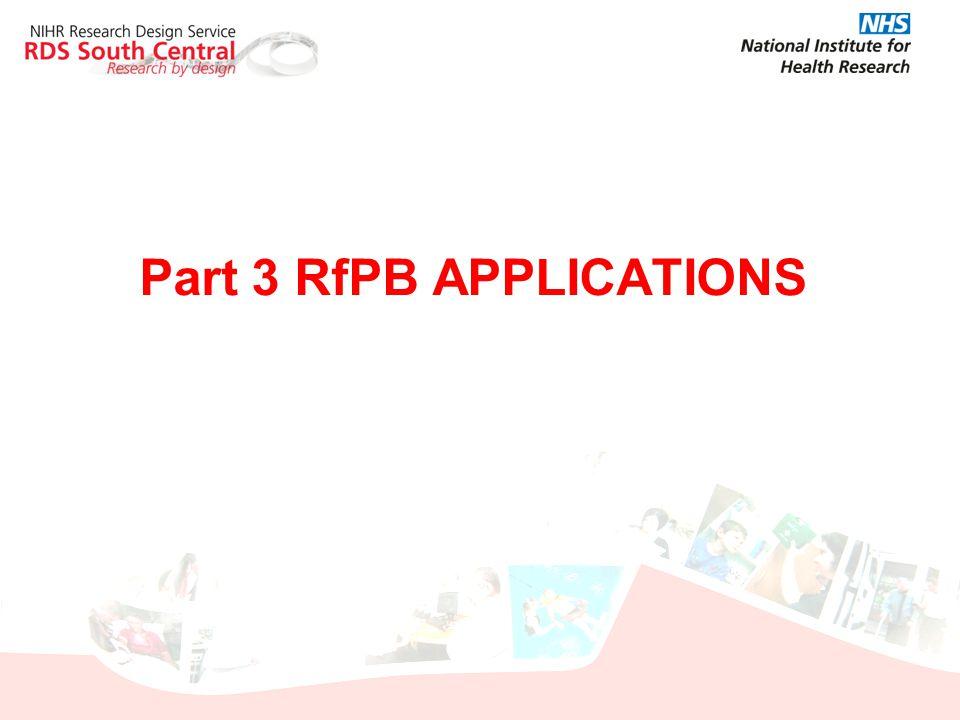 Part 3 RfPB APPLICATIONS