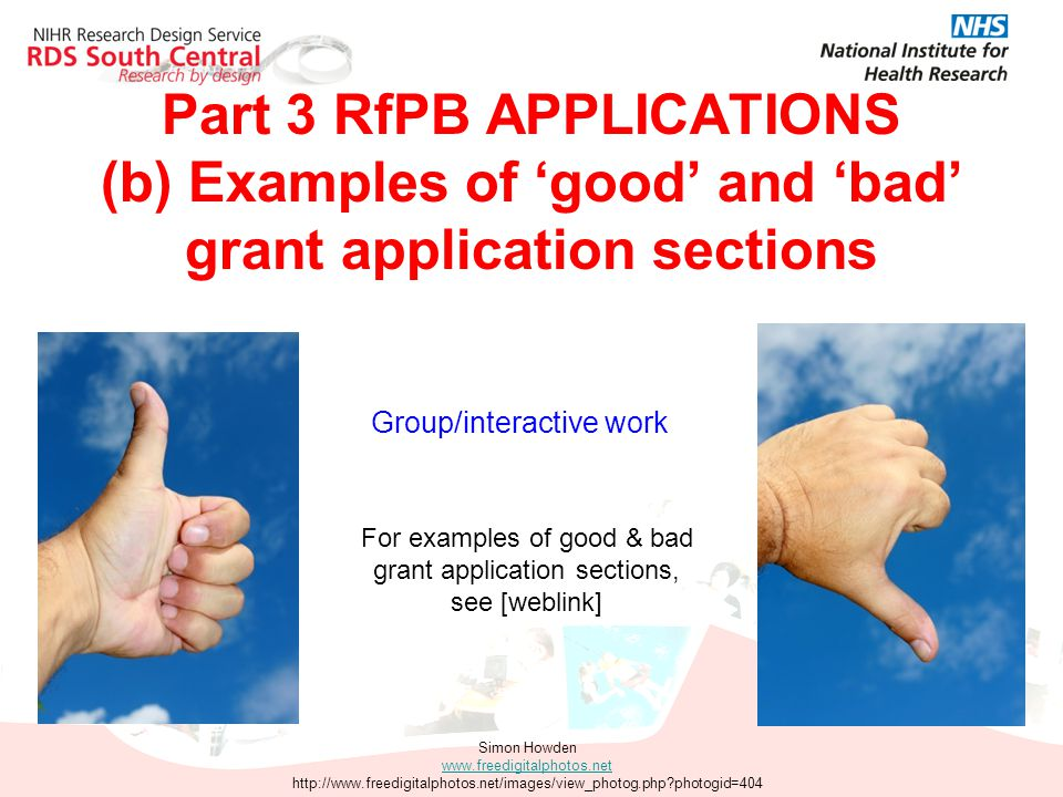 Part 3 RfPB APPLICATIONS (b) Examples of 'good' and 'bad' grant application sections