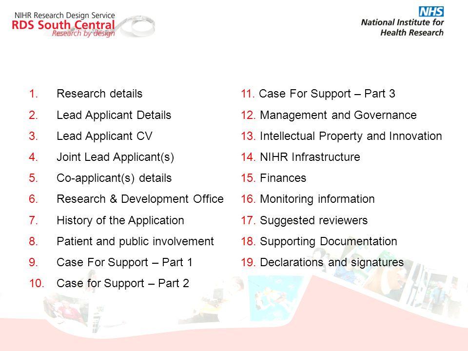Research details Lead Applicant Details. Lead Applicant CV. Joint Lead Applicant(s) Co-applicant(s) details.
