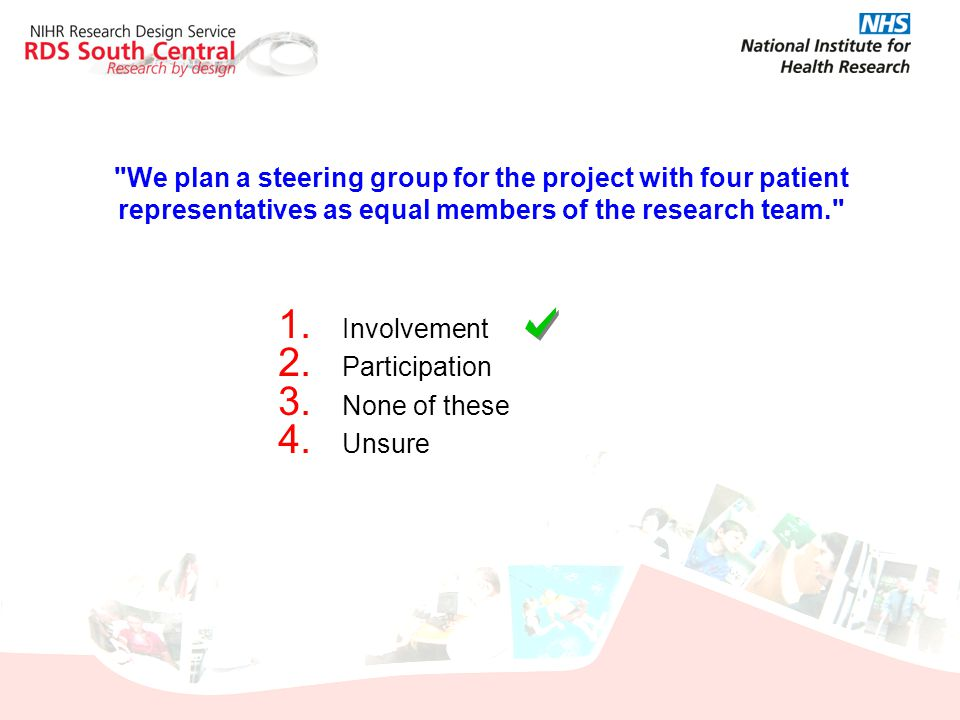 We plan a steering group for the project with four patient representatives as equal members of the research team.