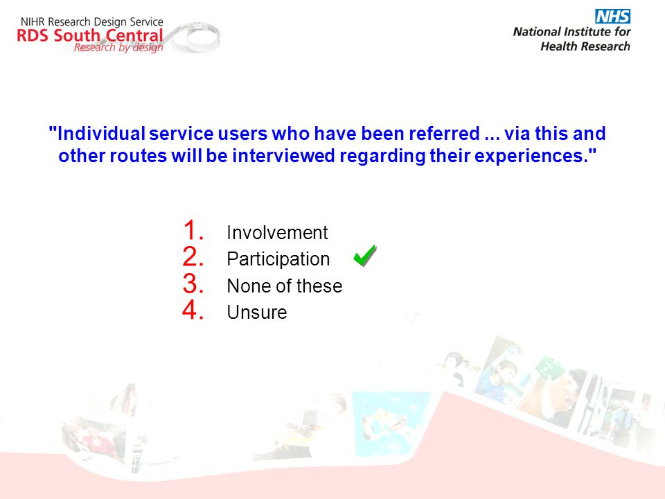 Individual service users who have been referred