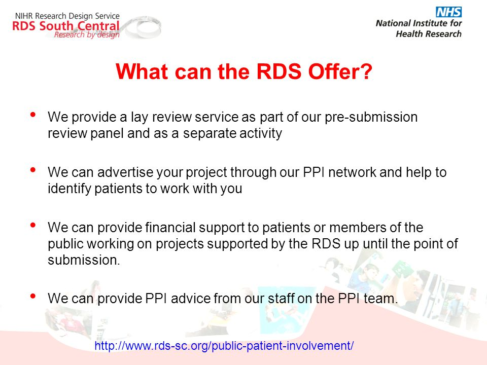 What can the RDS Offer We provide a lay review service as part of our pre-submission review panel and as a separate activity.