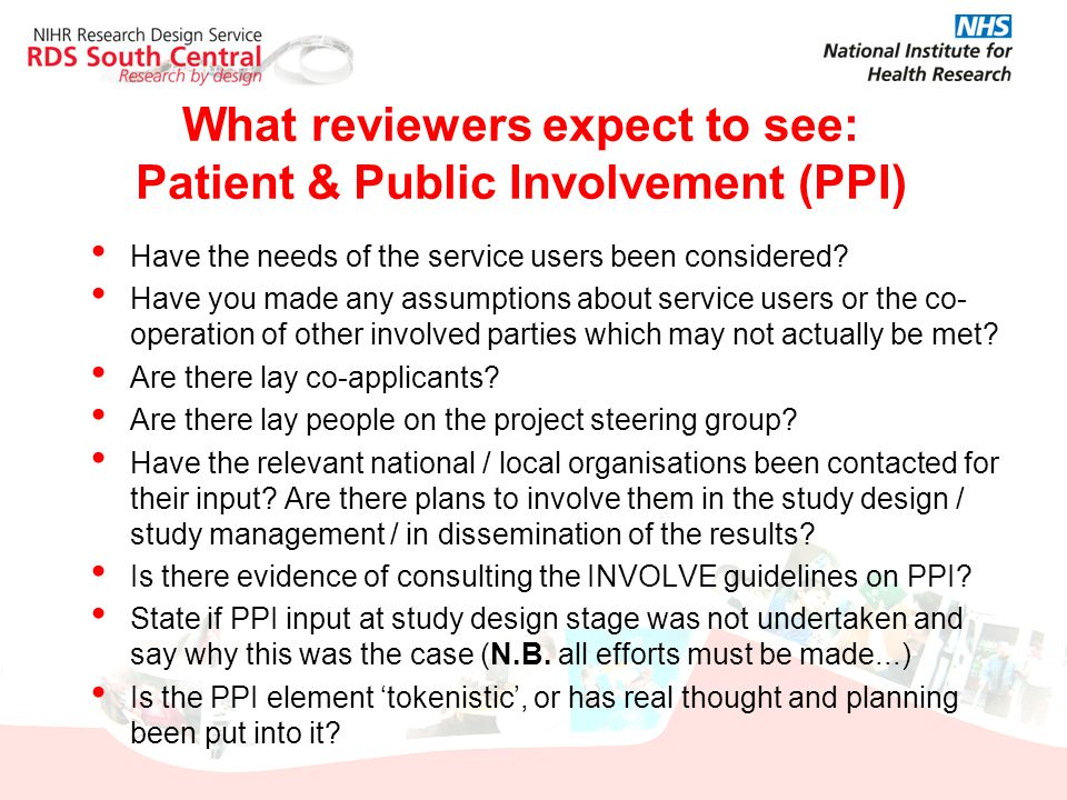 What reviewers expect to see: Patient & Public Involvement (PPI)