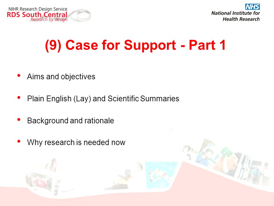 (9) Case for Support - Part 1