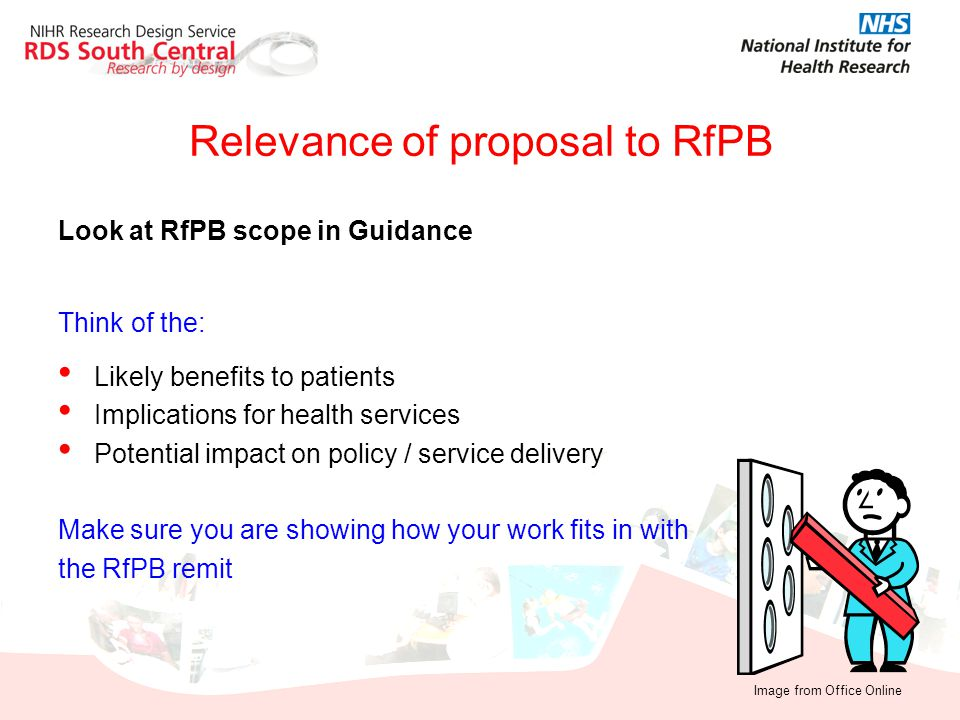 Relevance of proposal to RfPB