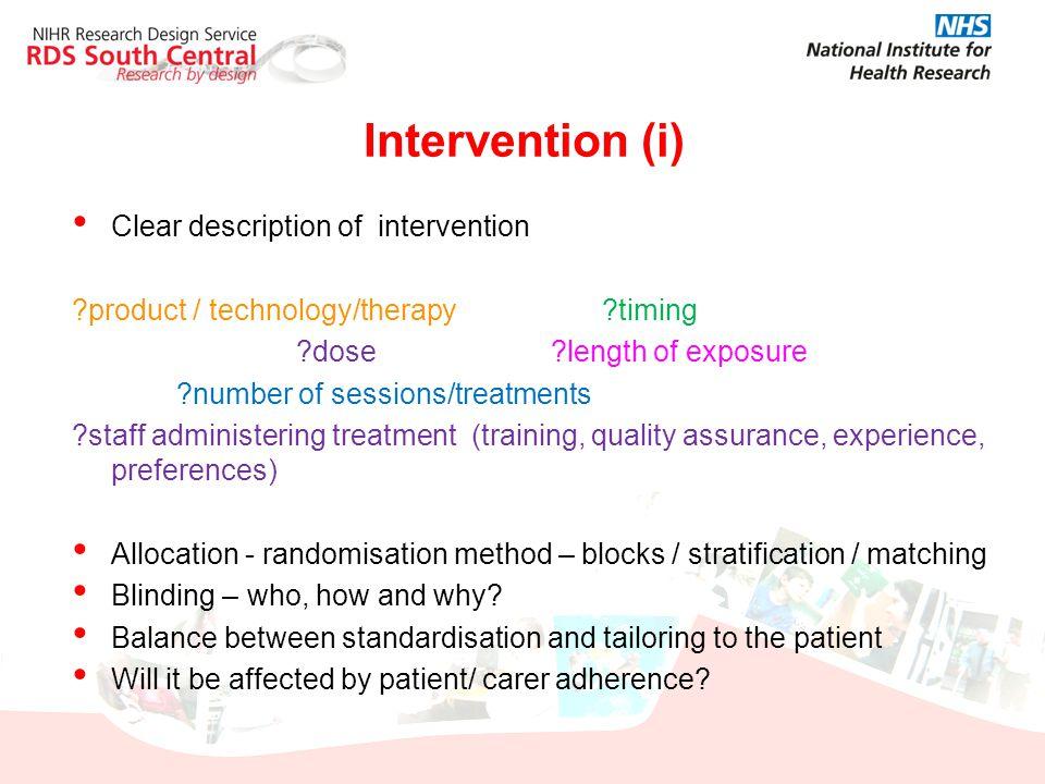 Intervention (i) Clear description of intervention