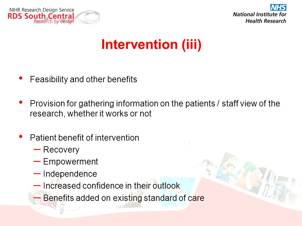 Intervention (iii) Feasibility and other benefits