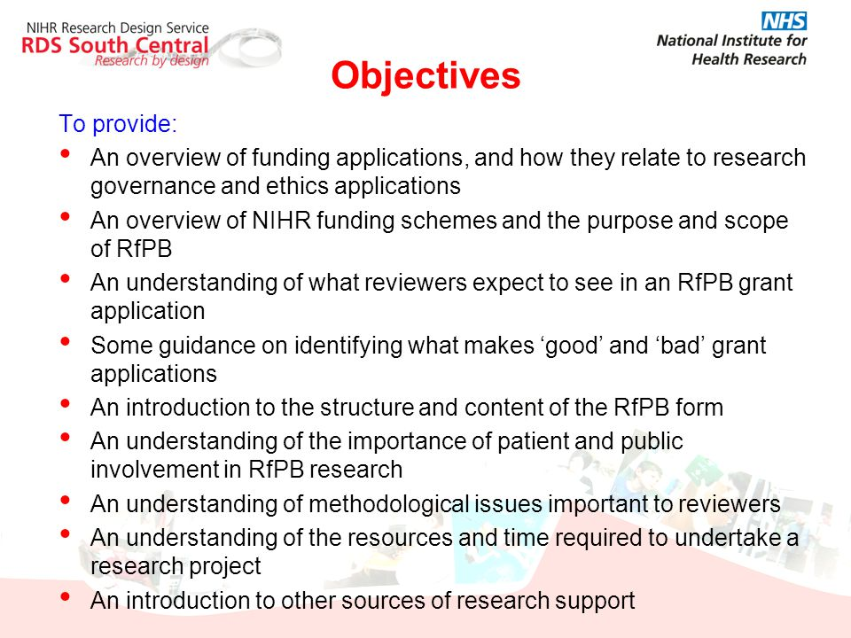 Objectives To provide: