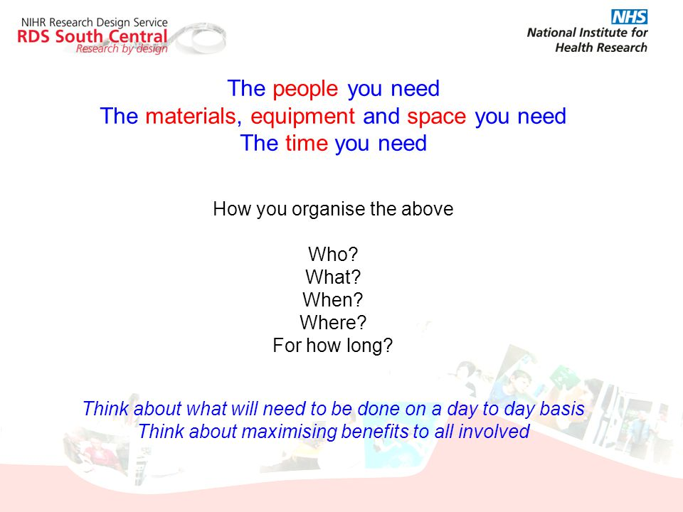 The materials, equipment and space you need The time you need