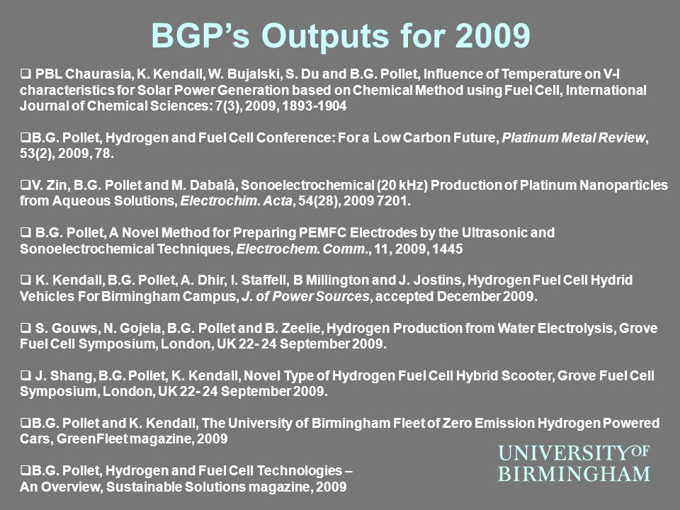 BGP's Outputs for 2009