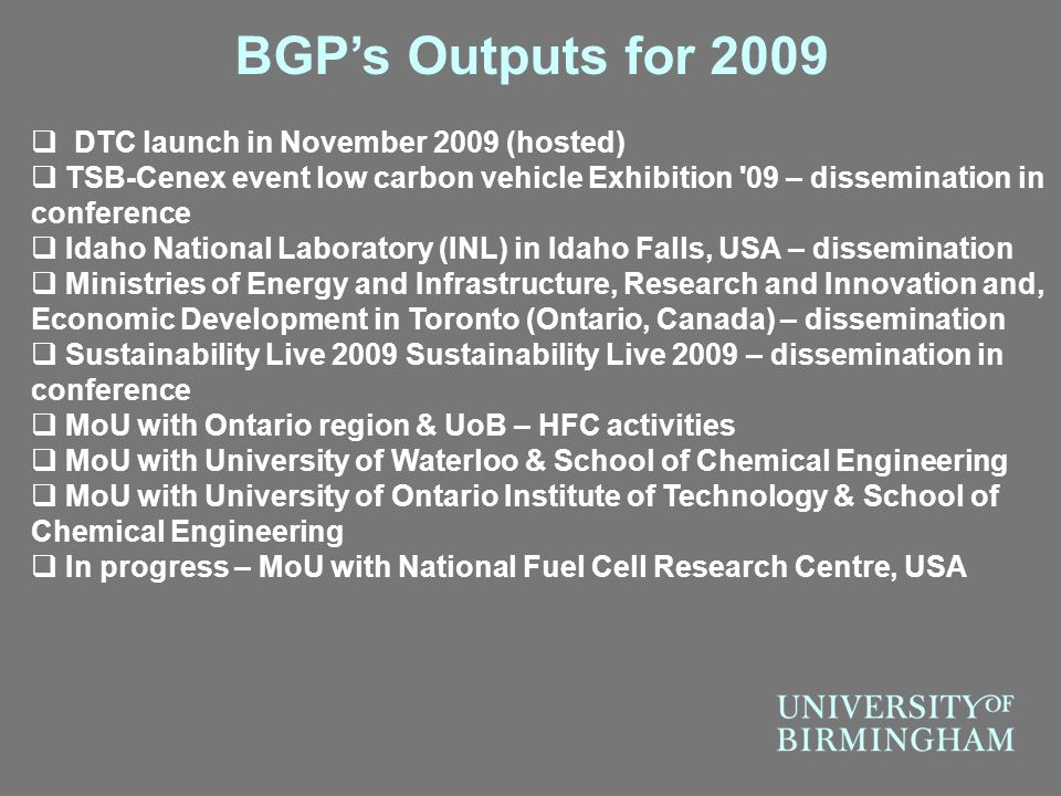 BGP's Outputs for 2009 DTC launch in November 2009 (hosted)