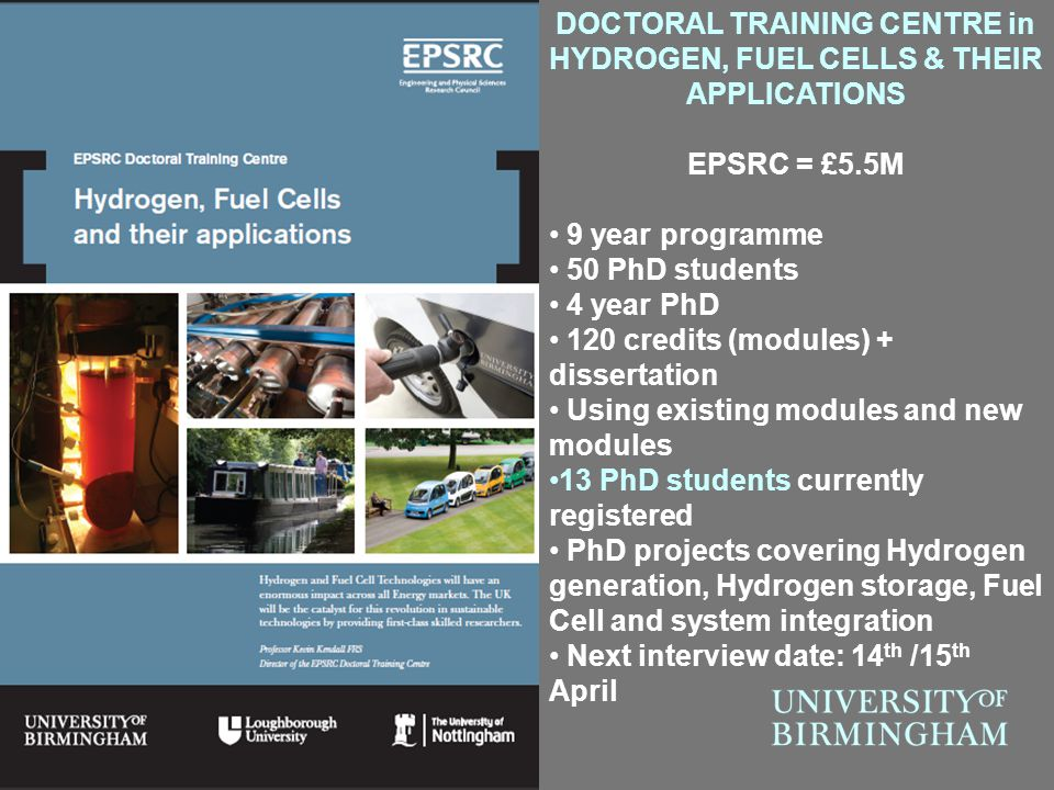 DOCTORAL TRAINING CENTRE in HYDROGEN, FUEL CELLS & THEIR APPLICATIONS