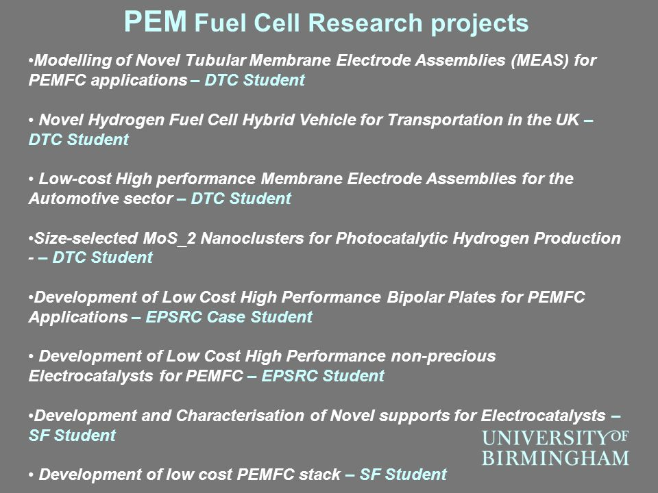 PEM Fuel Cell Research projects