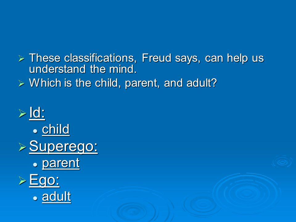 Id: Superego: Ego: child parent adult