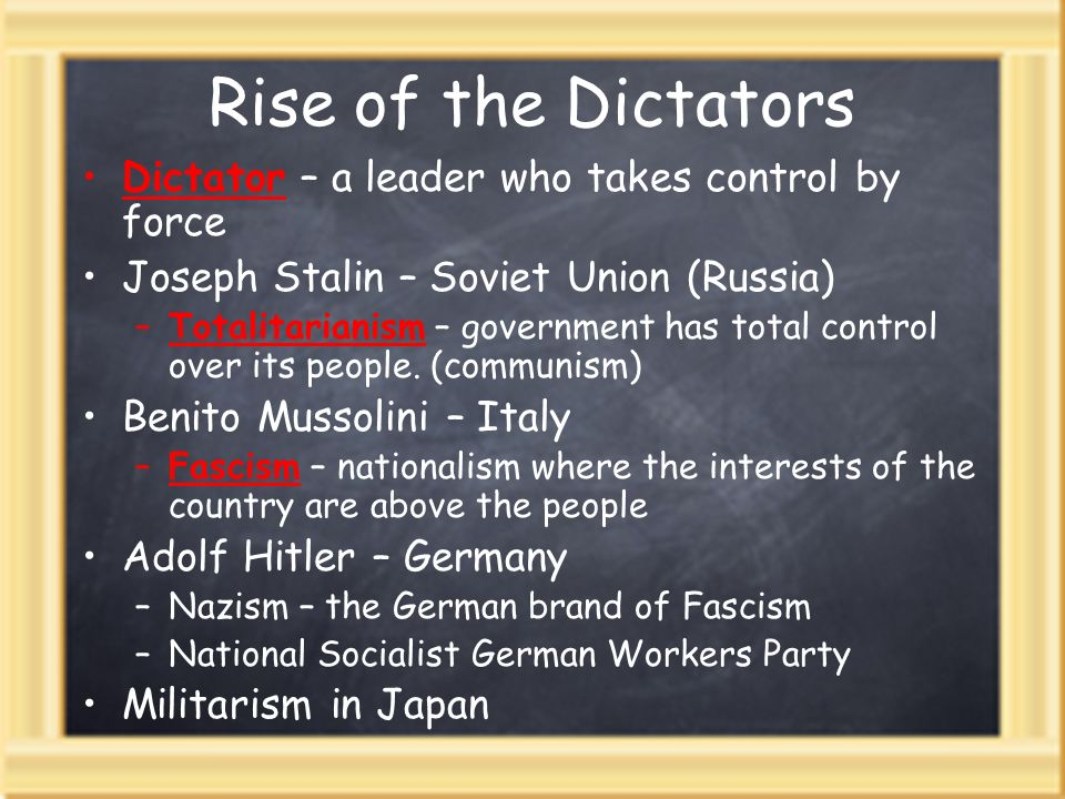 Rise of the Dictators Dictator – a leader who takes control by force