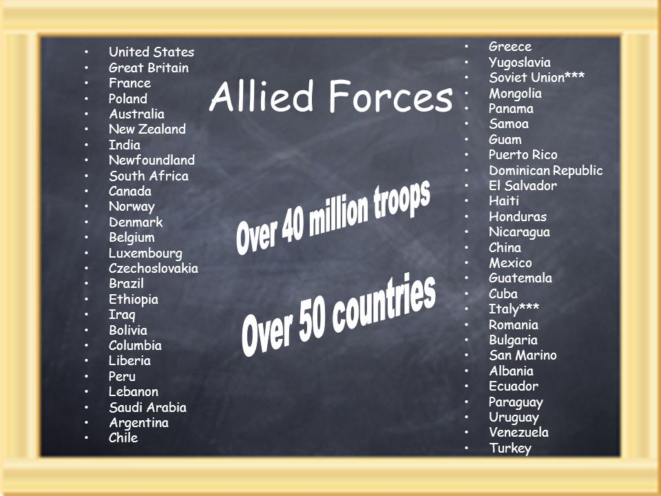 Allied Forces Over 40 million troops Over 50 countries Greece
