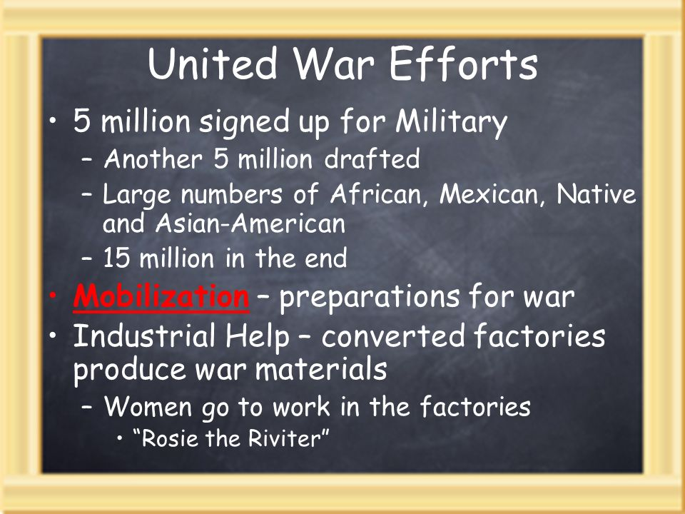United War Efforts 5 million signed up for Military