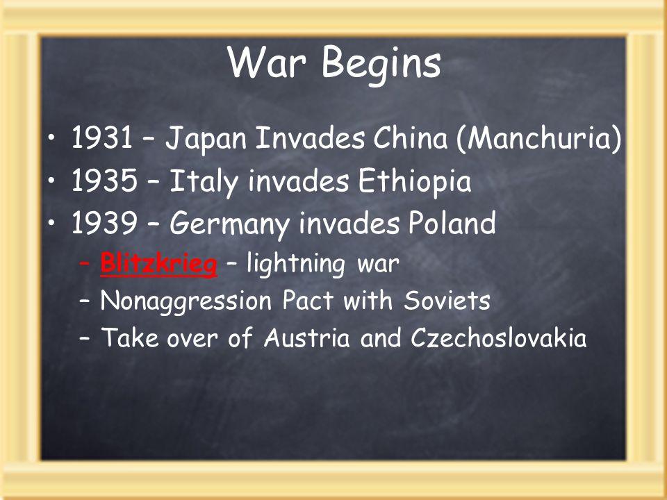 War Begins 1931 – Japan Invades China (Manchuria)
