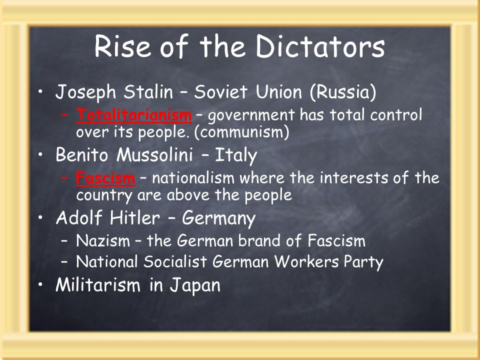 Rise of the Dictators Joseph Stalin – Soviet Union (Russia)