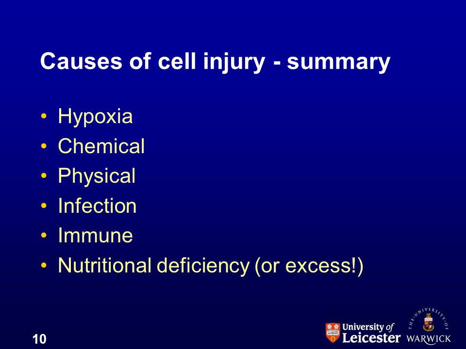 Causes of cell injury - summary