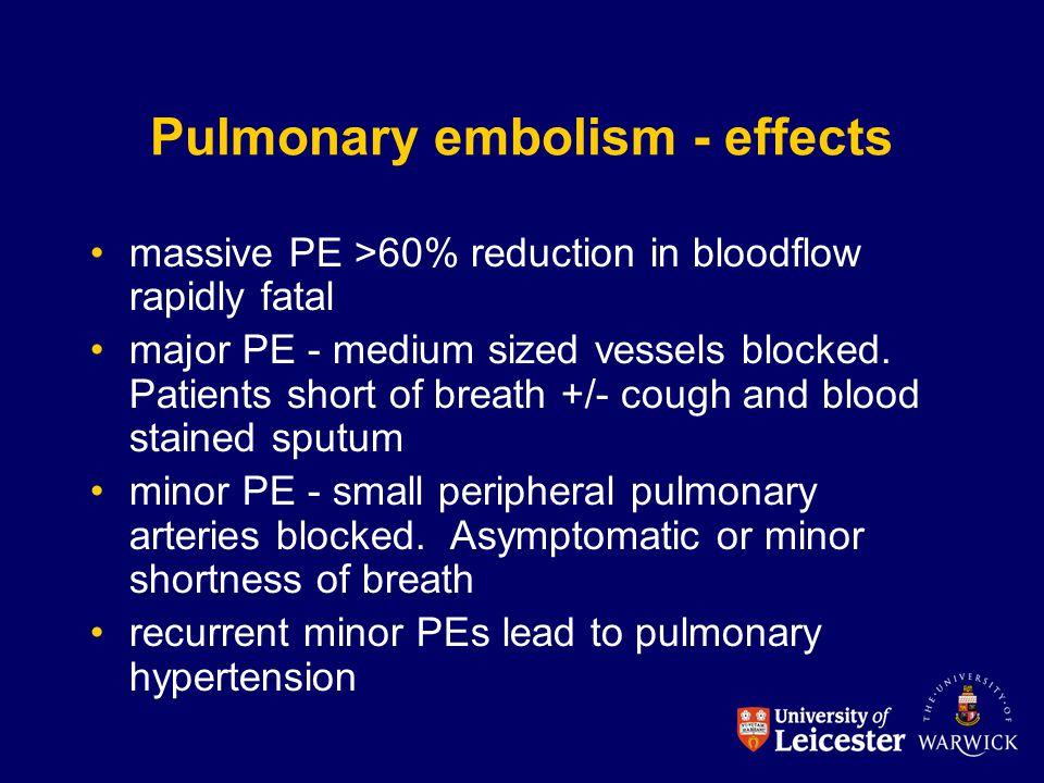 Pulmonary embolism - effects