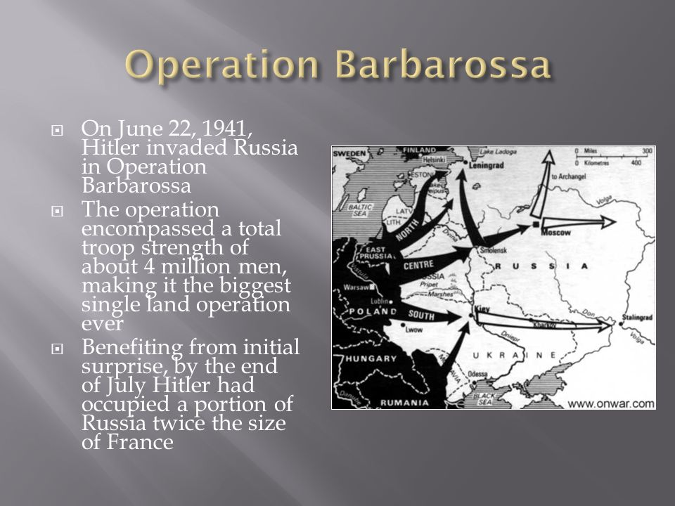 Operation Barbarossa On June 22, 1941, Hitler invaded Russia in Operation Barbarossa.