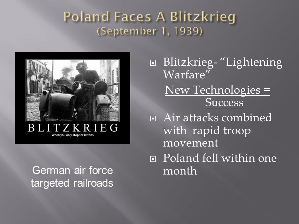 Poland Faces A Blitzkrieg (September 1, 1939)